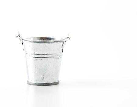 steel bucket: steel bucket on white background Stock Photo