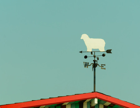 gust: white sheep rooster weather vane in vintage color style