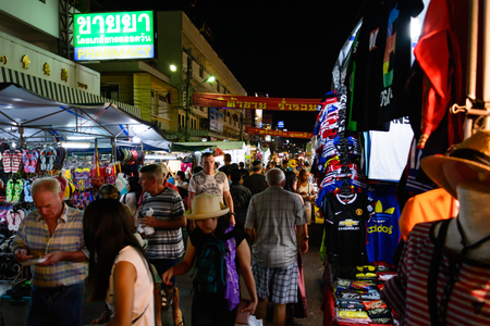 hua hin: HUA HIN, THAILAND - FEB 02 2015: Tourists stroll at the night market in Hua Hin. The famous night market in Hua Hin is a major tourist attraction.