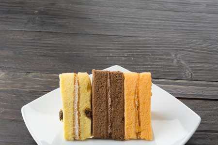 chiffon: chiffon cake on wood table Stock Photo