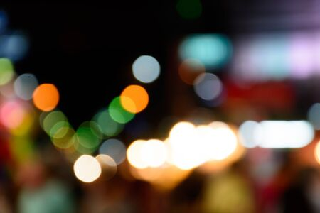blured: blured lighhts bokeh for background from walking street in Hua Hin, Thailand.