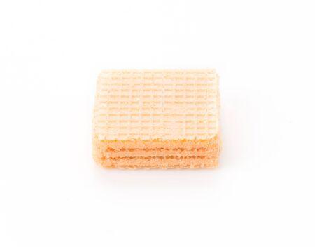 filling line: orange wafer on white background Stock Photo