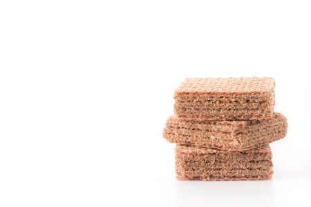 chocolate biscuit: chocolate wafer on white background
