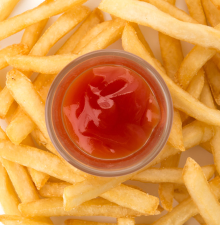 frites: French fries on white  Stock Photo