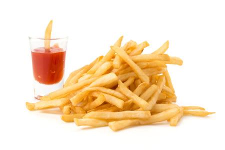 Pommes Frites auf weiß Standard-Bild - 43474991