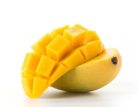mango slice: fresh mango on white background Stock Photo