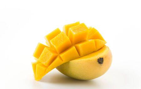 mango leaves: fresh mango on white background Stock Photo