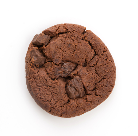 soft dark chocolate brownie cookies on white Фото со стока