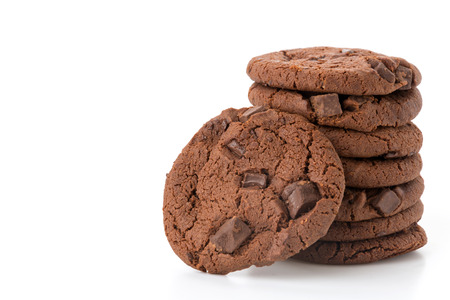 soft dark chocolate brownie cookies on white Foto de archivo