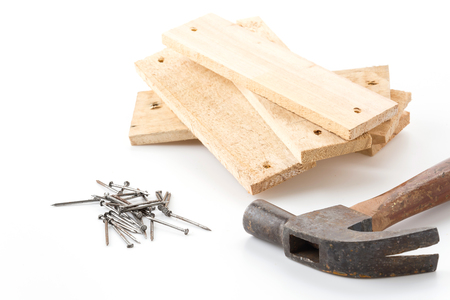hammer and nail with wood Stock Photo