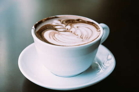 chocolate latte - soft focus with vintage film filter Stock Photo