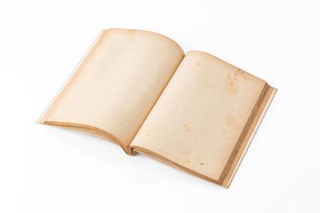 open agenda: viejo libro en el fondo blanco