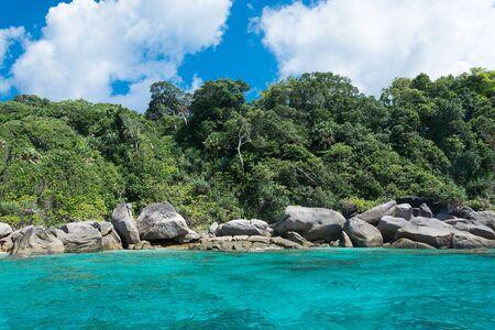 similan: Koh Similan No.8 Island with Sailing Boat Rock landmark in Similan national park, Thailand.