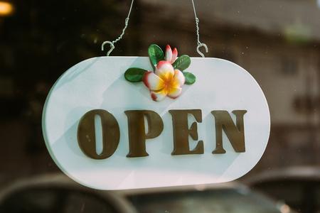 glass door: open sign on glass door