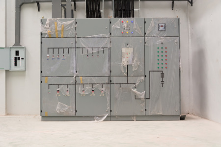 distribution board: Electrical control or technical room Stock Photo
