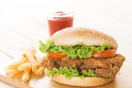 chicken burger: crispy chicken burger on wood