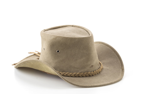 brown leather hat: cowboy hat on white background
