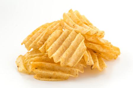 nosh: potato chips on white background
