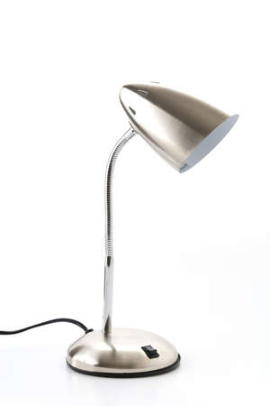 electric fixture: silver lamp on white background