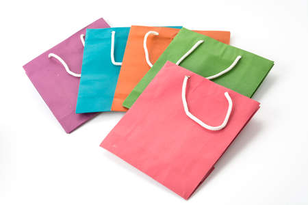 paper bags: paper bags on white background Stock Photo