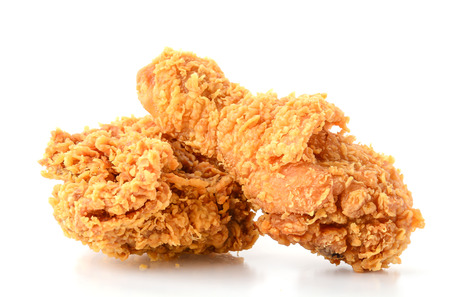 fried chicken on white background Фото со стока