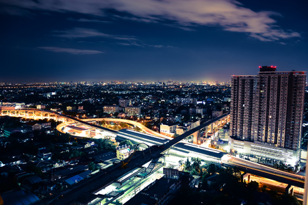 river scape: night bangkok city scape with cloud Stock Photo