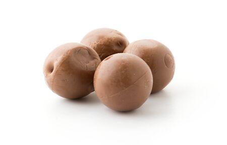 chocolate balls: chocolate balls on white background