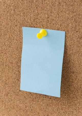 sticky note on cork board, empty space for text Stock Photo