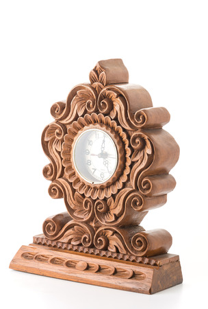 wooden clock: old wooden clock on white background