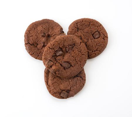 Biscuits de brownie au chocolat noir doux sur blanc Banque d'images - 45688204
