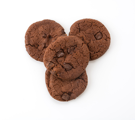 soft dark chocolate brownie cookies on white Reklamní fotografie
