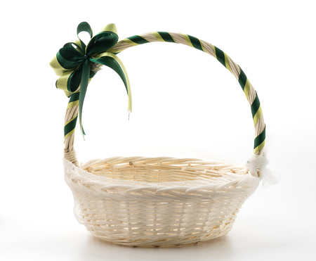 basket: Woven basket on white background