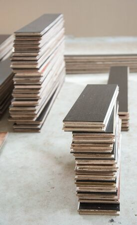 flooring: laminate floor ready to flooring Stock Photo