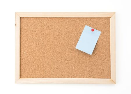 note board: sticky note on cork board, empty space for text Stock Photo