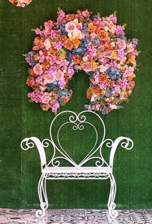 wainscot: white chair with flower background - vintage film style