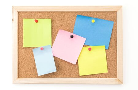cork sheet: sticky note on cork board, empty space for text Stock Photo