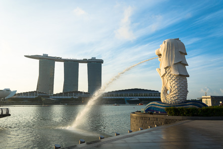 standalone: SINGAPORE, JUL 16 2015 : The Merlion and the Marina Bay Sands Resort Hotel, billed as the worlds most expensive standalone casino