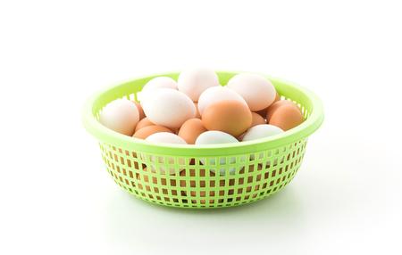 duck egg: hen and duck egg in plastic basket