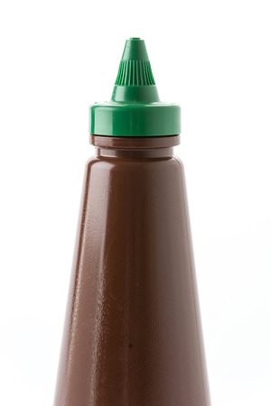 catsup: bottle of barbecue sauce on white Stock Photo