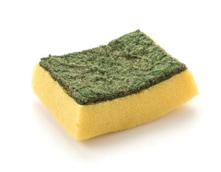 lavar platos: Dishwashing sponge on white background Foto de archivo