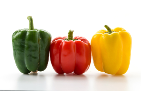 sweet peppers: sweet peppers on white background Stock Photo