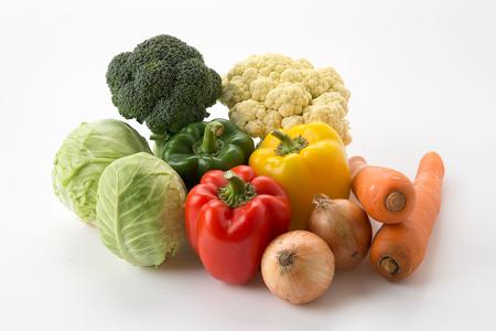 legumes: l�gumes sur fond blanc m�langer Banque d'images