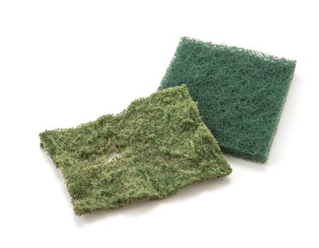 lavar platos: Esponja para lavar platos en el fondo blanco