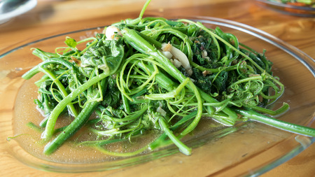 soya: Stir-Fried Sayate With Salted Soya Bean Stock Photo