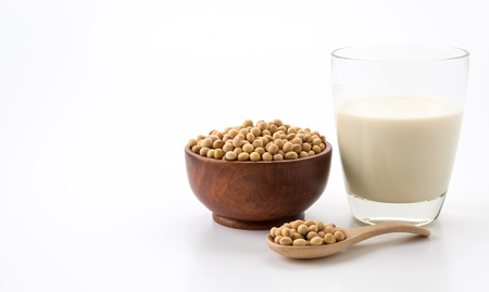 soy milk on white background