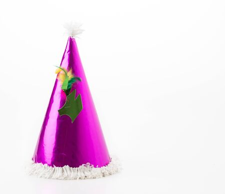 one year: party hat on white background