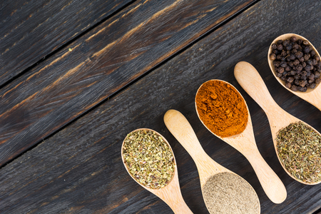 dry food: Spices and herbs in bowls. Food and cuisine ingredients.
