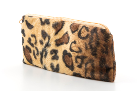 animal pouch: leopard zip bag on white background