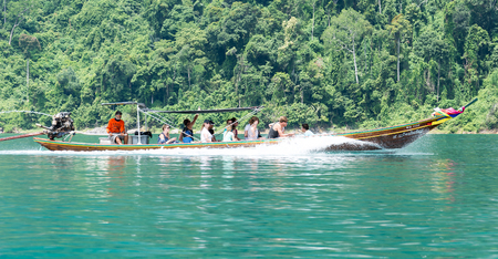 kao sok: Suratthanee Thailand Jul 27 2015 : tourist on long-tailed boat at Kao Sok national park Editorial