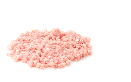 minced: minced pork on white background
